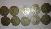 1рублевые монеты.10рублевые юбилейные.10копеечные монеты.2копеечные ..
